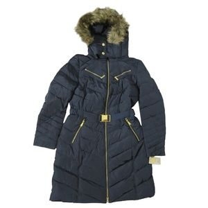 Michael Kors Hooded Down Puffer Coat With Faux-Fur